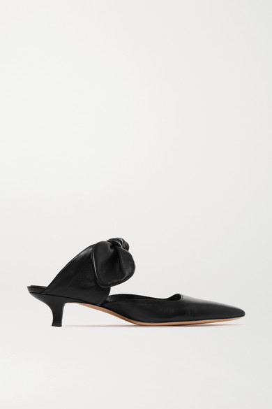 Coco Leather Mules - Black Size 5.5