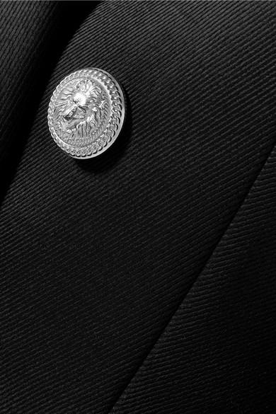 Balmain Doppelreihiger Twill-Blazer aus einer Wollmischung
