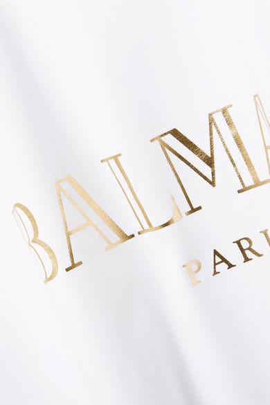 Balmain Oberteil aus Baumwoll-Jersey mit Zierknöpfen und Print
