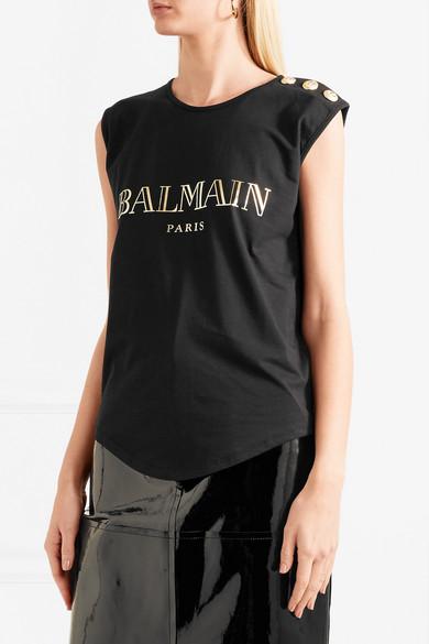 Rabatt Aaa Balmain Bedrucktes Oberteil aus Baumwoll-Jersey mit Zierknöpfen Billig Verkauf Offiziell Spielraum Klassisch Qualität Freies Verschiffen VMgin0R