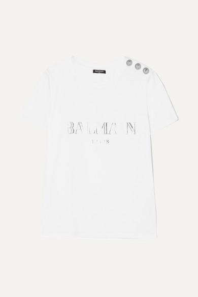 Balmain T-Shirt aus Baumwoll-Jersey mit Zierknöpfen und Print