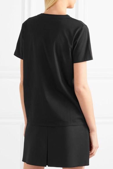 T-shirt Balmain En Jersey De Coton Avec Boutons Décoratifs Et Imprimé