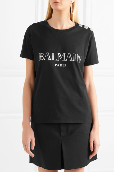 4f2e783e5385 Balmain. Button-embellished printed cotton-jersey T-shirt.  290. Play