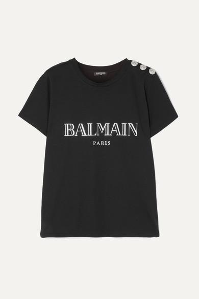 Balmain T-Shirt aus Baumwoll-Jersey mit Zierknöpfen und Print Billig Verkauf Aus Deutschland Freies Verschiffen Veröffentlichungstermine l5XMemTHYo