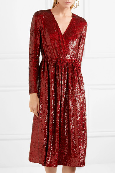 Sequined Silk-georgette Wrap Dress - Red Ashish