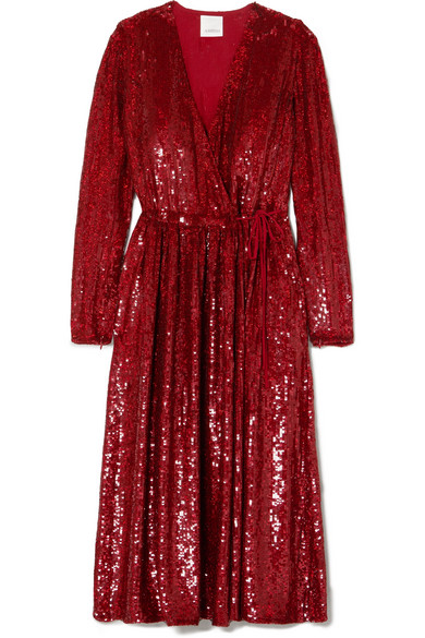 Ashish - Sequined Silk-georgette Wrap Dress - Red