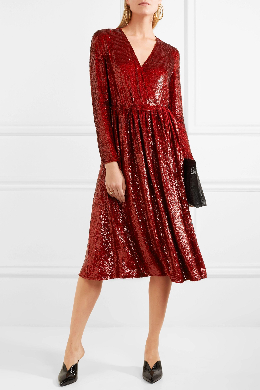 Ashish Sequined silk-georgette wrap dress