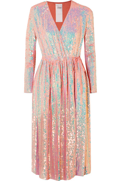 Ashish - Sequined Silk-georgette Wrap Dress - Pink