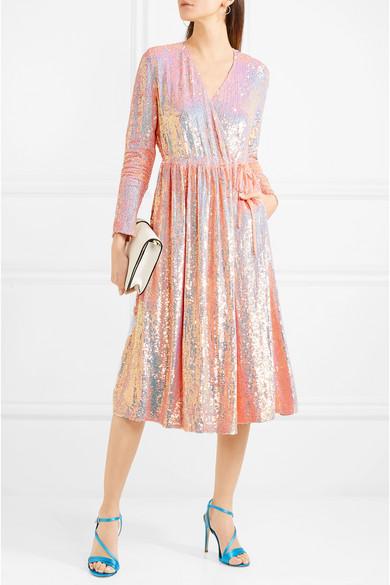 Ashish Paillettenverziertes Wickelkleid aus Seiden-Georgette