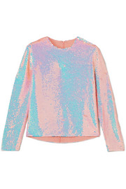 Ashish Sequined silk-georgette top