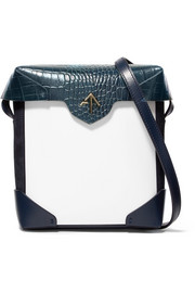 Pristine mini suede-trimmed croc-effect leather shoulder bag