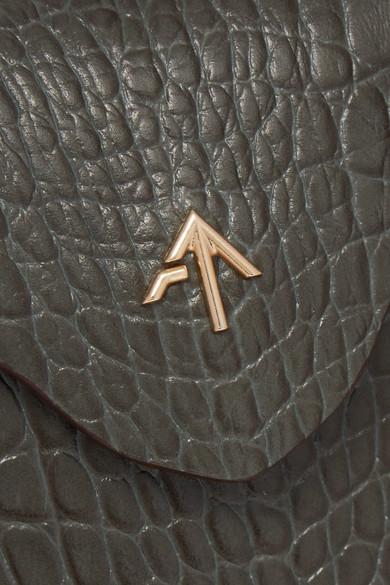 Manu Atelier Pristine micro Schultertasche aus Leder mit Krokodileffekt