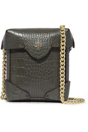 Pristine micro croc-effect leather shoulder bag