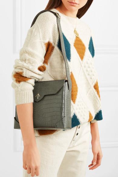 776abc559f MANU Atelier. Bold large croc-effect leather shoulder bag