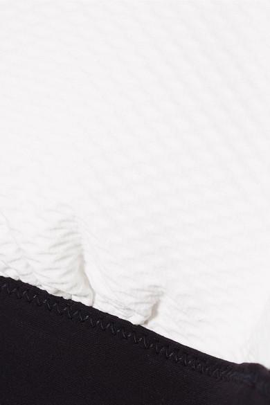 Heidi Klein Anacapri zweifarbiges Neckholder-Bikini-Oberteil aus Stretch-Piqué