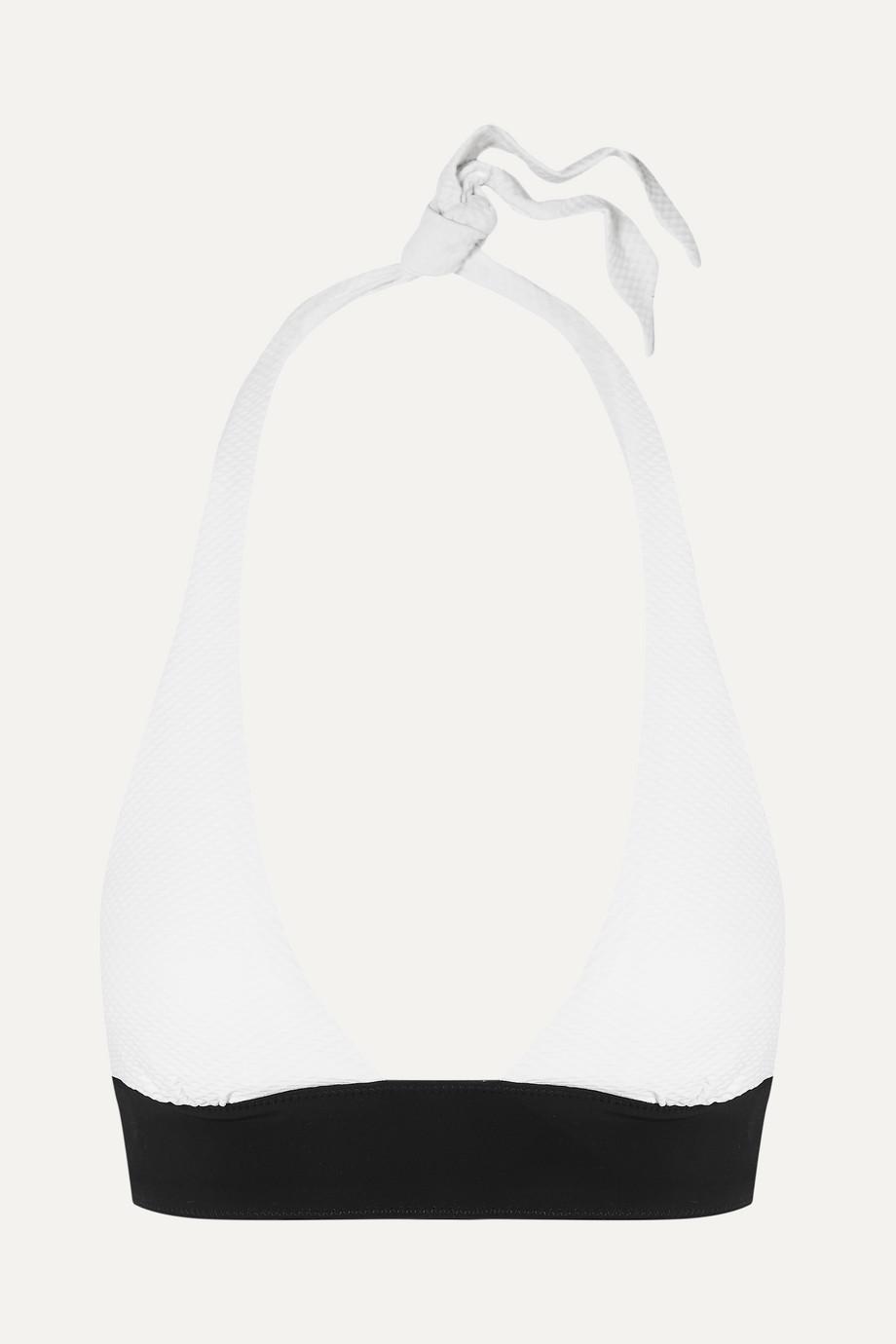 Heidi Klein Anacapri two-tone halterneck stretch-piqué bikini top