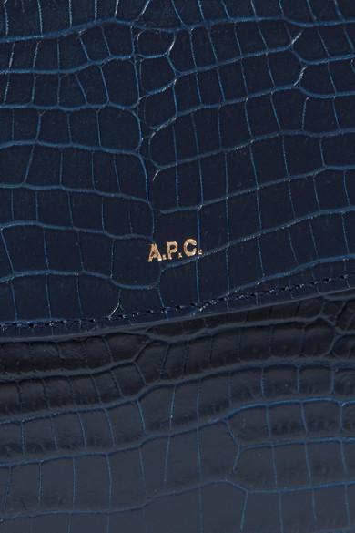 A.P.C. Atelier de Production et de Création Geneve Schultertasche aus Leder mit Krokodileffekt