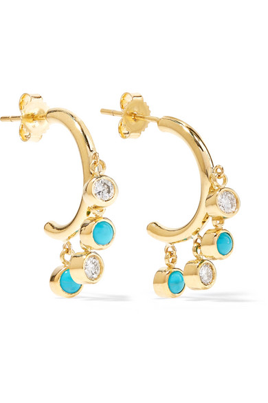 Jennifer Meyer - 18-karat Gold, Diamond And Turquoise Earrings