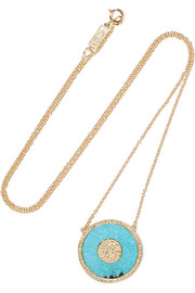 Evil Eye 18-karat gold, turquoise and diamond necklace