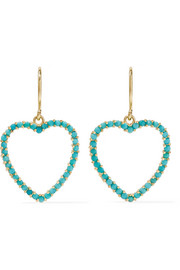 Heart 18-karat gold turquoise earrings