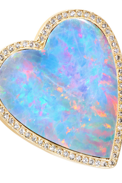 Coeur En Or 18 Carats, Opale Et Diamants - 6 Jennifer Meyer