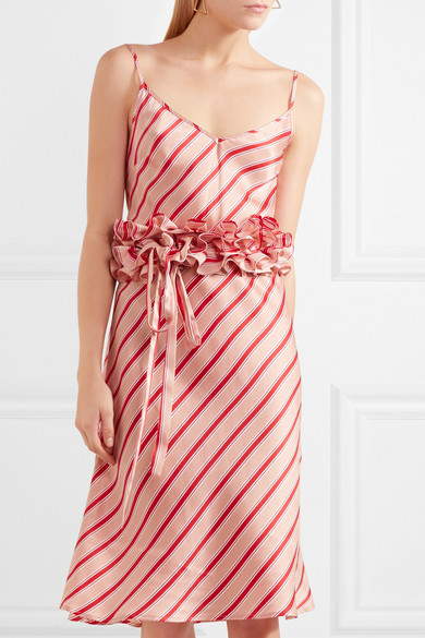 Maggie Marilyn I Need You By My Side Kleid aus gestreiftem Seidensatin mit Rüschen