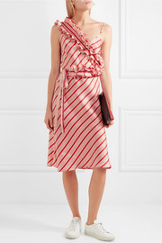 I Need You By My Side ruffled striped silk-satin dress
