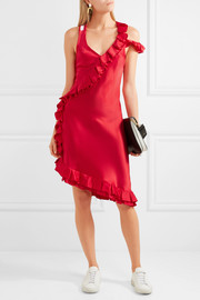 My Special Something cold-shoulder ruffled silk-satin midi dress