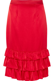 Billi Mac ruffled silk-satin skirt