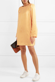 I'm Coming Home striped satin-twill mini dress