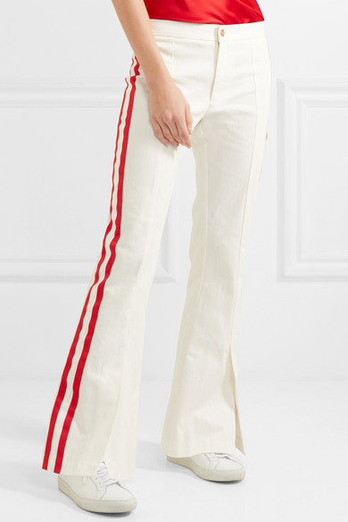 Game Changer Grosgrain-trimmed Mid-rise Bootcut Jeans - White Maggie Marilyn ZLNTpiN7mh