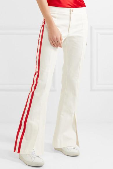 Changeur De Jeu Grosgrain Garni Jeans Bootcut Mi-hauteur - Blanc Maggie Marilyn 0Fbyzz