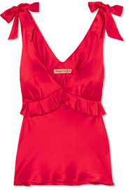 Diana ruffled silk-satin camisole