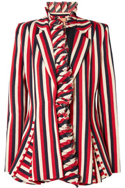 I Lead From The Heart striped cotton-canvas blazer