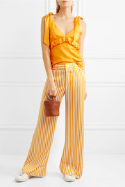 Endless Optimist striped satin-twill wide-leg pants