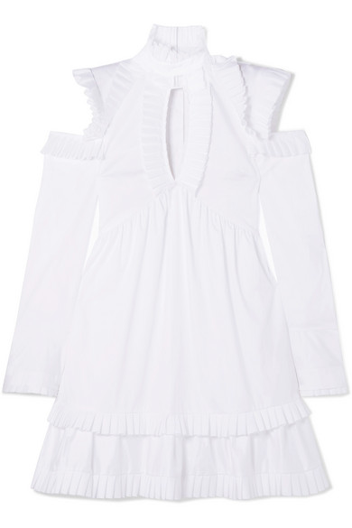 Maggie Marilyn Olivia Dress In Cotton Poplin With Ruffles And Cut-outs