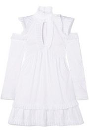 Olivia's cutout ruffled cotton-poplin dress