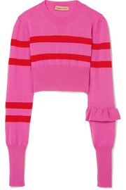 The Believer cropped striped merino wool sweater