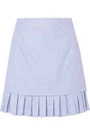 Lucy pleated striped cotton mini skirt