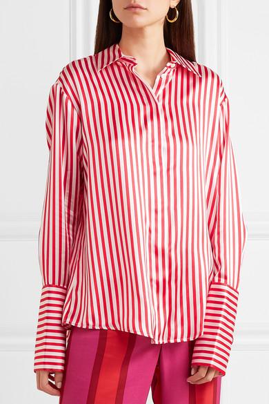 Maggie Marilyn Aimee's gestreiftes Hemd aus Seidensatin