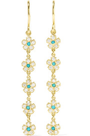 Jennifer Meyer 18-karat gold, diamond and turquoise earrings