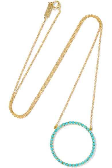 Jennifer Meyer - Open Circle 18-karat Gold Turquoise Necklace