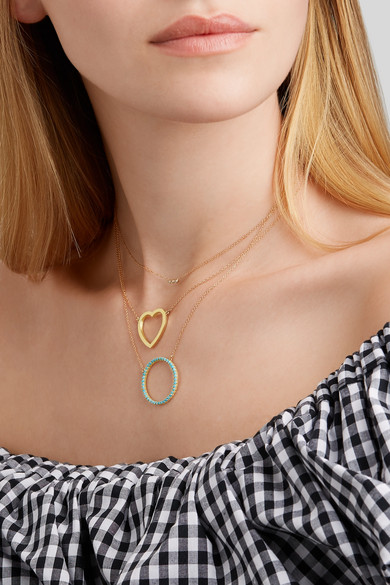 Jennifer Meyer Open Circle 18-karat Gold Turquoise Necklace CG2elG