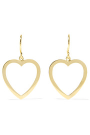 Open Heart 18-karat gold earrings