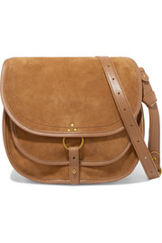 Felix large leather-trimmed suede shoulder bag