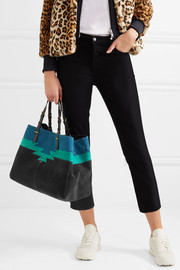 Maurice leather-trimmed suede tote
