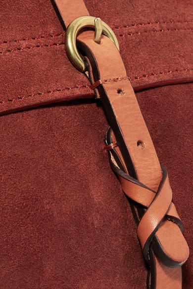 Jérôme Dreyfuss Tony kleine Schultertasche aus Veloursleder mit Besätzen aus Leder