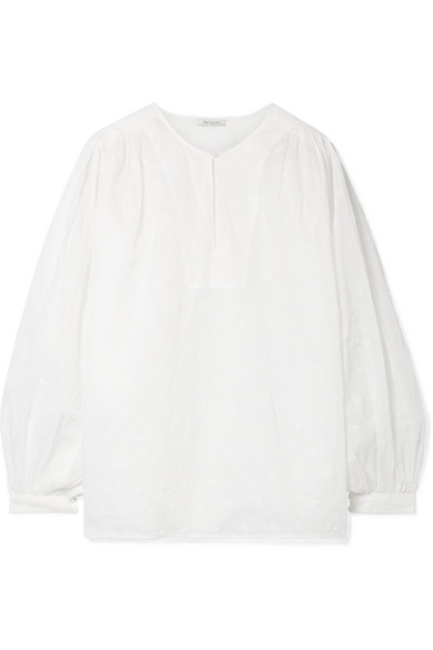 Mes Demoiselles ANDROMEDE EMBROIDERED COTTON-VOILE BLOUSE