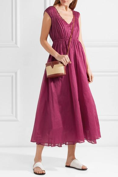 Mes Demoiselles Clothide Midikleid aus Baumwoll-Voile mit Lochstickerei