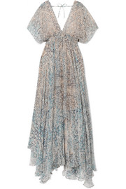 Faience gathered printed chiffon maxi dress